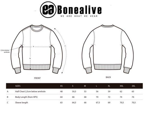guias de tallas sudadera sin capucha | Bonealive